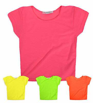 Girls Short Sleeved Block Colour Crop Top New Kids Neon T-Shirt Ages 7-13 Years
