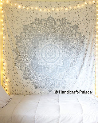 Ombre Mandala Silver Indian Tapestry Wall Hanging Throw Queen Bedspread Decor