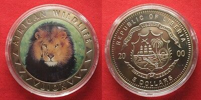 LIBERIA 5 Dollars 2000 Lion AFRICAN WILDLIFE Cu-Ni COLORED # 94589