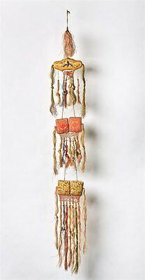 Antique Chinese Emroidered Ceremonial Silk Hanging 19Th C.