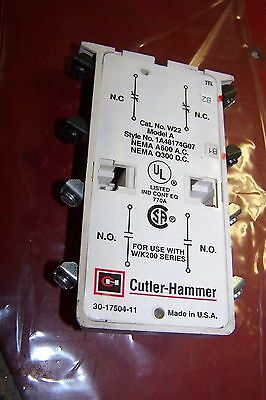 New Cutler Hammer W22 Advantage W200 W201 Auxiliary Contact Style 1A48174G07