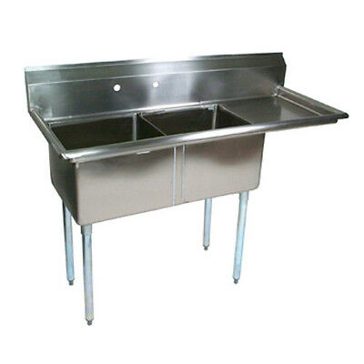"John Boos E2S8-1620-12R18 E-Series Two Compartment Sink w/ 18"" Right Drainboard"