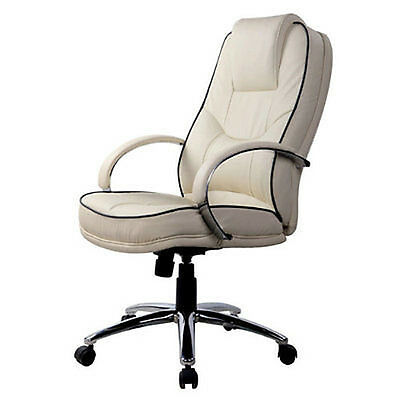 Cream Business leather faced executive swivel computer office chair