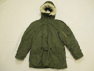 Size Small Type N-3B Military Extreme Cold Weather Parka Synthetic Fur on Hood