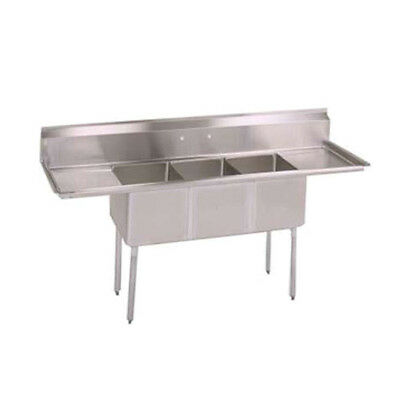 "John Boos E3S8-1014-10T15 E-Series Three Compartment Sink w/ Two 15"" Drainboards"