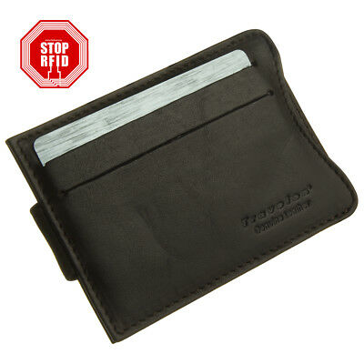 Travelon Safe ID Slim Leather Wallet Money Clip RFID Credit Card Protector Slots
