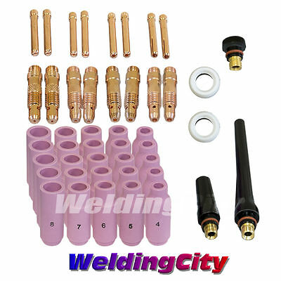 "46pcs TIG Welding Torch 17/18/26 Kit .040""-1/16""-3/32""-1/8"" T20 
