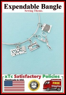 Sewing Theme: Sewing Related Silver Charms Steel Bangle Bracelet.Tailor Bracelet