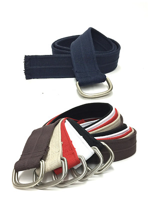 """Canvas Web Belt Double D-Ring Buckle """"1 3/4"""" Wide One Size Fits Most"""