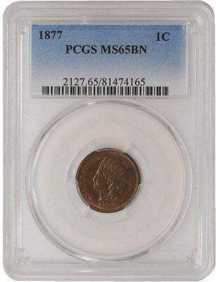 1877 Indian Head Cent 1c MS65 BN PCGS