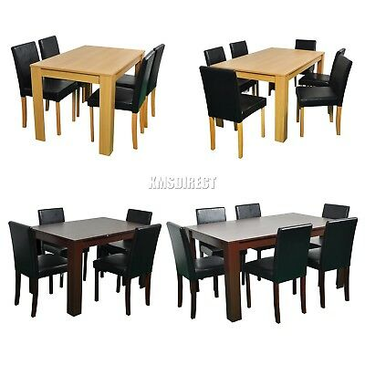FoxHunter Wooden Dining Table and 4 Or 6 PU Faux Leather Chairs Set Furniture