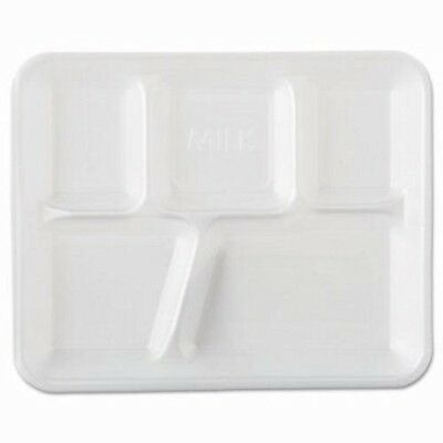 GenPak 5 Compartment Foam Cafeteria Food Trays, 500 Trays (GNP 10500)