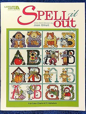 Cross Stitch Pattern SPELL it OUT 21 Alphabets Joan Elliott Cat Christmas Bear +