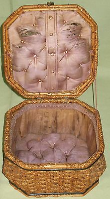 ANTIQUE SEWING BOX BASKET WOVEN SPLINT HINGED LID w/HANDLE ROLL TUFTED DIAMONDS