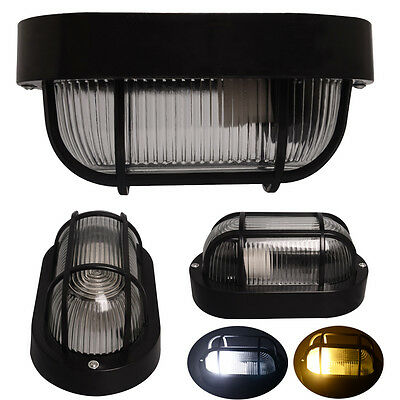 1 3x Black Oval Bunker Light Outdoor Wall Cage Lamp E27 5W Globe Candle D/W Bulb