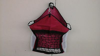 Red nylon horse hay carrier bag w/slow feed net front mesh sides & bottom