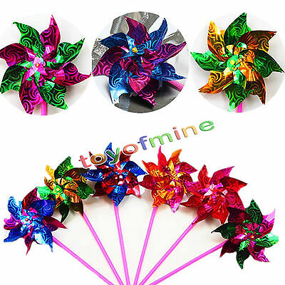 1 Pc Plastic Windmill Spinner Pinwheel Whirl Self-assembly Flower Toy
