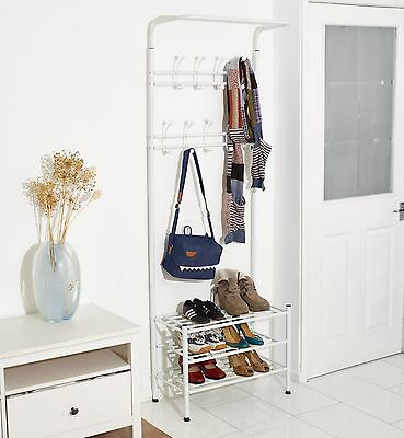 Vinsani White Metal Multi-Function Clothes Coat Stand Shoes Rack Umbrella Stand