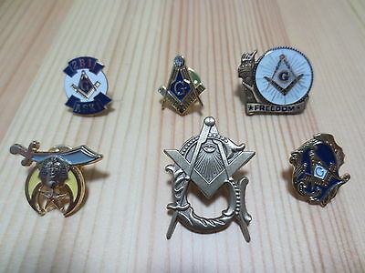Hot sell Lot of 6 PCS  Masonic Lapel Pins Badge Mason Freedom B2