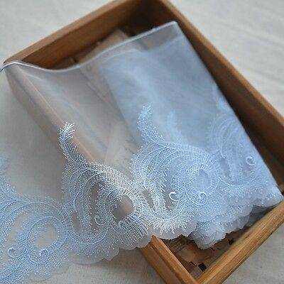 """New Lace Trim White Retro Embroidery Tulle Fabric Wedding 9.1/"""" width 1 yard S1"""