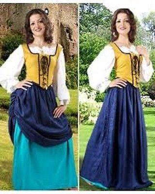 """Pirate Wench """"Double Layer"""" Skirt (S/M, Navy Blue & Petrol)(W11/E127)"""