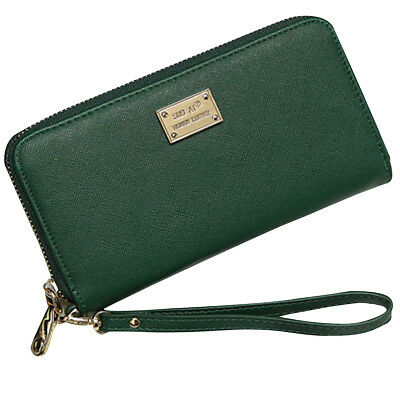 Fashion Women Lady Long PU Leather Purse Zipper Clutch Wallet Card Holder Green