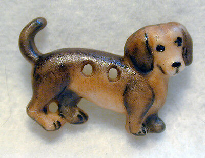 """Handcrafted Porcelain Button Realistic Dachshund Dog 1"""" x 5/8"""" FREE US SHIPPING"""