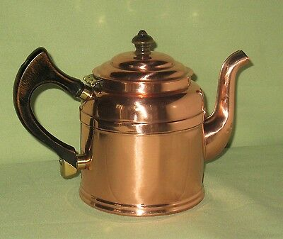 ANTIQUE COPPER BRASS & WOOD TEAPOT w/COVER FINIAL FIXATED HANDLE MAJESTIC