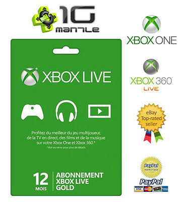 Code Abonnement XBOX 360/ONE (S) Live 12 mois (1 AN) GOLD France & Europe