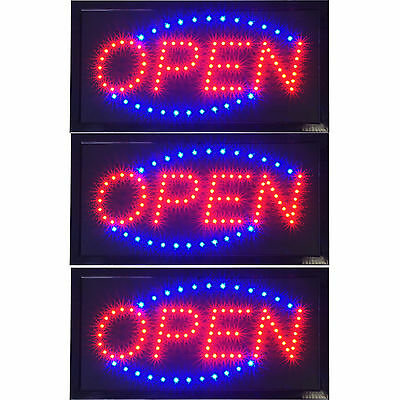 "3 x Ultra Bright Animated LED Open Store Shop Business Sign 19x10"" neon Lighted"