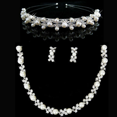 Wedding Bridal Party Crystal Pearls Necklace Earrings Headband Tiara Jewelry Set