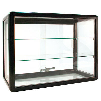 "Countertop Glass Showcase Store  Display 24""Wx12""Dx18""H Black Made in USA NEW"