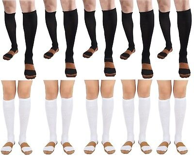 BL/WH 10 Pair Copper Compression Support Socks 20-30mmHg Graduated Men's Women's