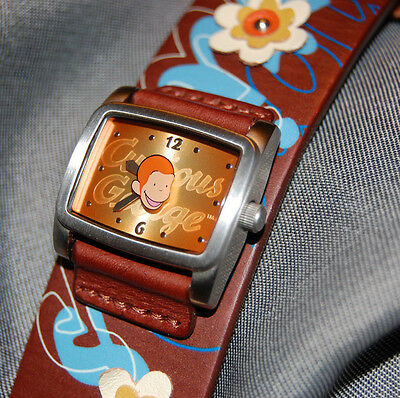 RARE Fossil Curious George Limited Edition Square Leather Women's Watch NEW BATT