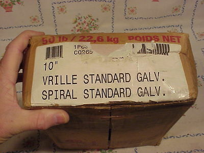 """One Box of VRILLE 10"""" Spiral Standard Galvanized Nails in Hardware (50 lb box)"""