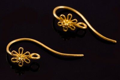 PAIR of HANDMADE 22K SOLID GOLD HOOK EARWIRE THAILAND