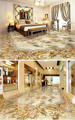 Classic Luxury Roses Floor Decals 3D Wallpaper Wall Mural Stickers Print
