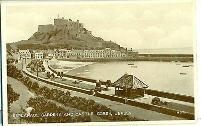 POSTCARD JERSEY Gorey gardens and castle