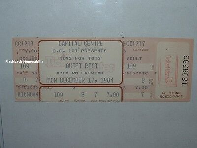 QUIET RIOT Unused 1984 NM Concert Ticket CAPITAL CENTRE MD 'Toys For Tots' RARE