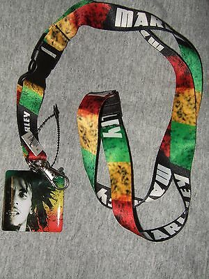 Nwt Bob Marley Striped Rasta Colors Detachable Keychain Lanyard & Picture Charm