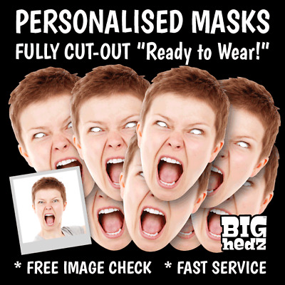 PERSONALISED FACE MASKS LIFE-SIZE - STAG DO HEN NIGHT BIRTHDAY PARTY PHOTO sash