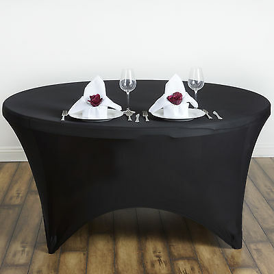 """Black ROUND 60"""" SPANDEX STRETCHABLE TABLECLOTH Wedding Catering Decorations SALE"""