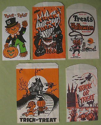 Vintage 1940s Bundle of 5 Different Halloween Trick Treat Candy Bags New