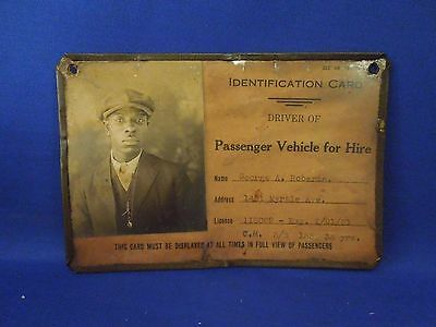 Vintage 1930's Baltimore MD Passenger Vehicle for Hire Driver ID Black Americana