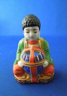 Vintage Trimont Ware Japan Porcelain Incense Burner Green Robed Man Buddha