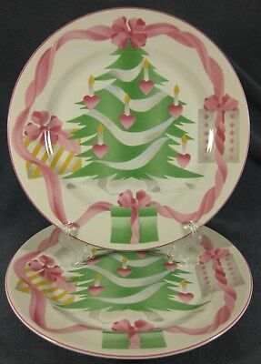 Sango Home For Christmas Dinner Plate Lot of 2 Pink Trim Green Tree (Indonesia)