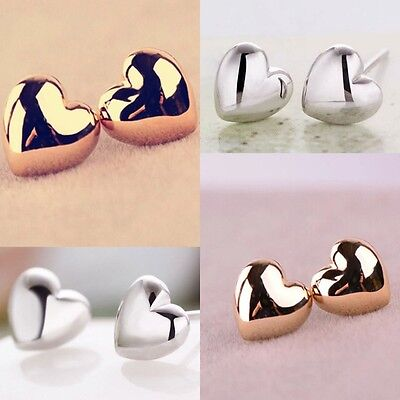 1 Pair Women Lady Chic Heart Silver/Rose Gold Plated Charm Ear Stud Earrings Hot