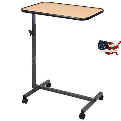 Overbed Laptop Food Tray Table Rolling Desk Hospital Over Bed With Tilting Top