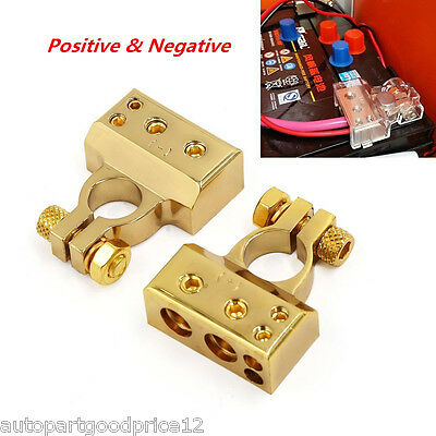 2pcs 12V (- and +) Battery Terminals Clamps Connectors AWG Gauge 2 4 8 Car Truck
