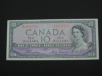 1954 $10 Dollar Bank Note Canada Devils Face D/D1938705 Coyne-Towers Ch Unc